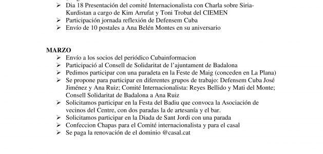 RESUMEN ACTIVIDADES 2016 CASAL D'AMISTAT AMB CUBA BADALONA
