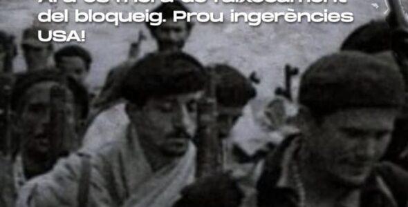 Contra la ingerència i el criminal bloqueig: solidaritat amb el poble cubà i la seva Revolució. Concentració dijous 15 de juliol a les 19.00 h. davant el Consolat General dels Estats Units a Barcelona