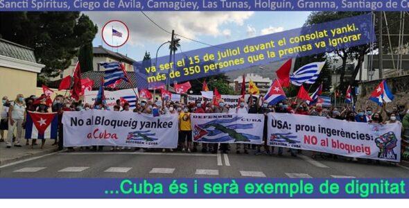 Contra les ingerències, solidaritat amb Cuba i la seva Revolució, 24 juliol 12:00 h. Plaça Sant Jaume de Barcelona